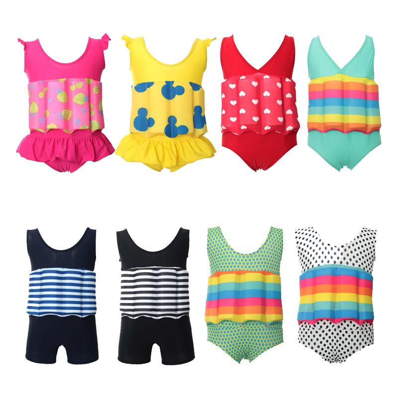 Children Professional Buoyant Swimming Suits Cute Printed Boys And Girls Buoyancy Swimwear One-piece Swimsuits B-1236