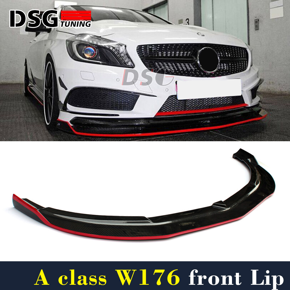 Mercedes W176 Carbon Fiber Front Lip With Red Line For