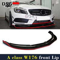 Mercedes W176 Carbon Fiber Front Lip with Red Line For Benz A Class A45 Package 2012 2015 Pre facelift