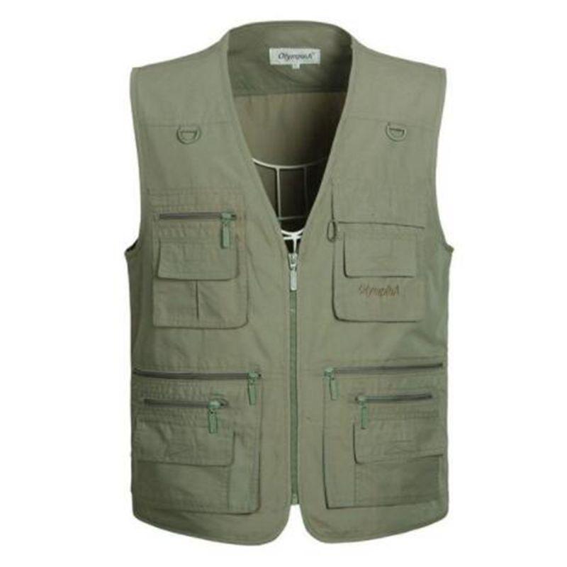 Zozowang Men's Casual Vest With Multi Pockets Cotton Men Vests Regular Five Colors Plus Large Size 5XL Vest Men Summer Hotsales
