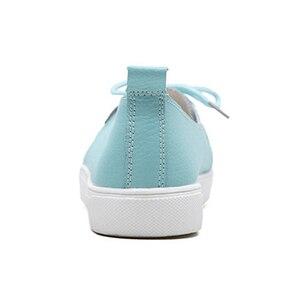 Image 5 - Женские студенческие туфли DONGNANFENG из натуральной кожи, белые туфли на плоской платформе, на шнуровке, Корейская повседневная обувь с вулканизированной подошвой FEZ 173