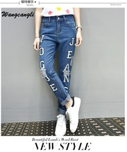 Wangcangli New Style Skinny Full Lenght in Women High Waist Hole Plus Size Fashion Jeans Print VOGUE Jeans Pencil Pants
