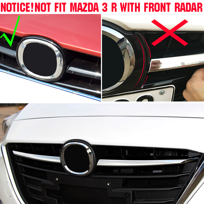 Chrome Front Mesh Grille Grill Cover Trim Molding Guard For Mazda 3 BM 2014-2016
