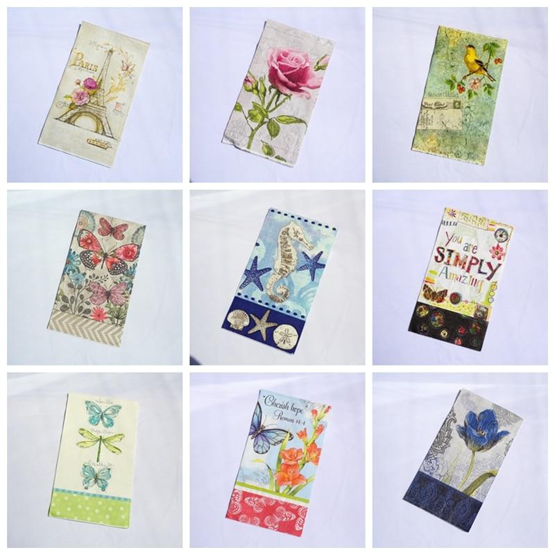 Decoupage paper napkins vintage floral dinner napkins for wedding mix tissues dragonfly sea horse napkin