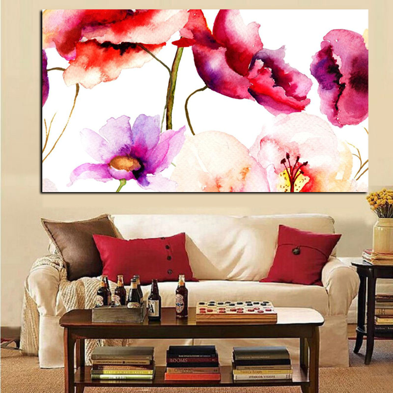 Abstract Watercolor Floral Flower Canvas Painting Modern Minimalist Alpine Orchid Poster Wall Pop Art Picture Home Cuadros Decor