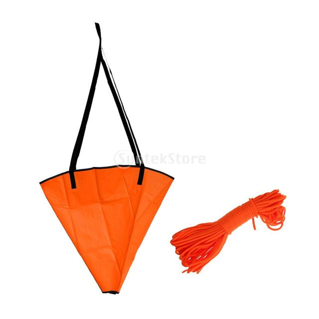 """30m 4mm Reflective High Visibility 150KG Load Floating Water Life Saving Rope+ 18"""" Sea Anchor Drogue Drift Sock for 12-14ft Boat"""