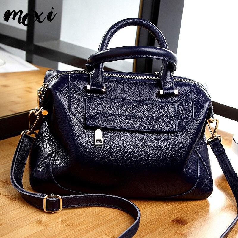 MOXI Women Handbag Genuine Leather Female Shoulder Bag Natural Cowhide Messenger Bag For Women Big Daily