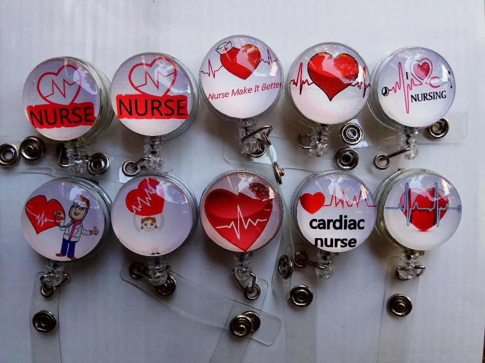 Sorted Heart Beat Nurse RN Cardiac Nurse Retractable ID Badge Reel with  metal clip 10 pcs/lot