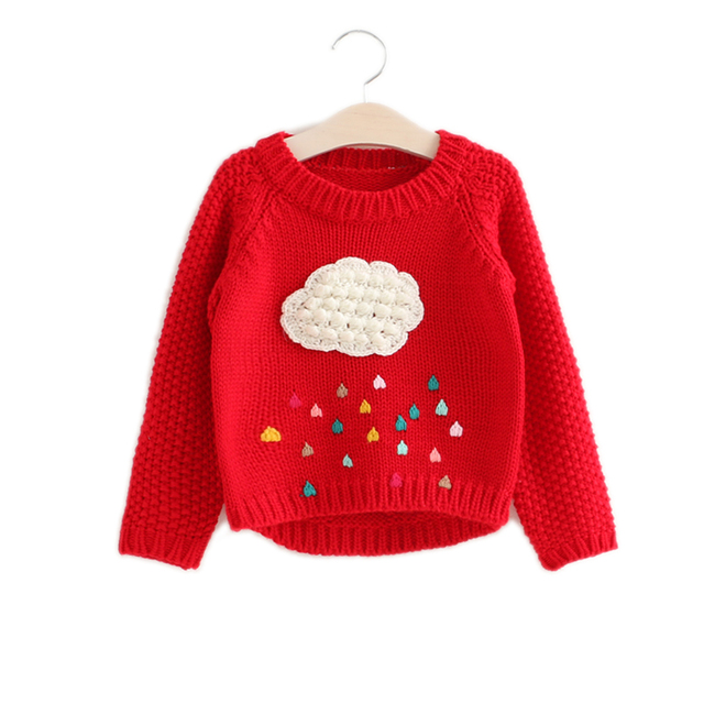 5d55cf2a1 winter knitted sweater girl 2018 new arrial baby girl clothes cartoon cloud  and rainy girls pullover cardigan girl sweaters 2-7T