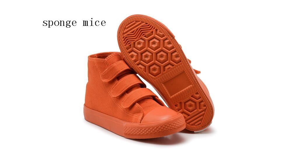 2017 sponge mice Children's shoes Boys and Girls High-top Canvas Shoes Bright colour Children's Sports Shoes