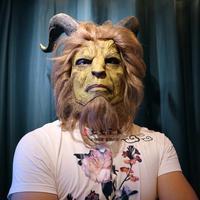 Halloween Beauty and The Beast mens Mr. beast mask Mr. Adam Furry Mask Prince Horn Curly Hair Helmet Dan Stevens costumes