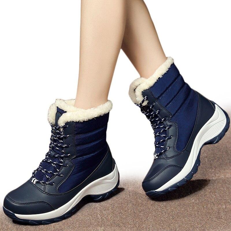 Botas de Mujer caliente zapatos de Mujer zapatos de invierno de piel Botas de nieve de peluche de Ronda Toe tobillo Botas de invierno plataforma Botas Mujer botines