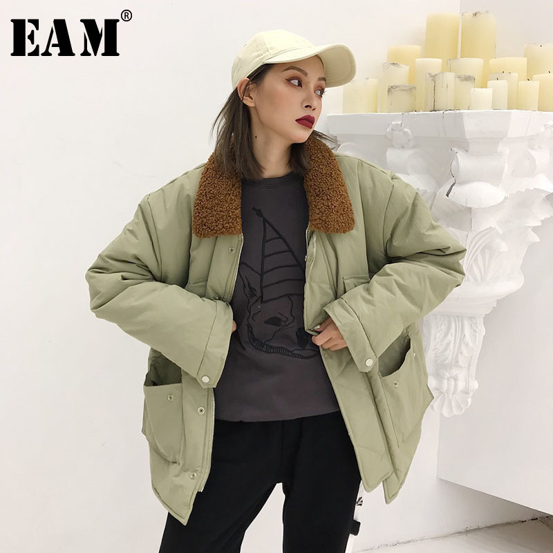 Spliced De down Fermeture Coton Printemps Femme Manteau eam 2019 Manches Fourrure Rembourré Light Glissière À Green army Longues Turn Gray Ld970 Col Lâche Brun P7Yq7tw4