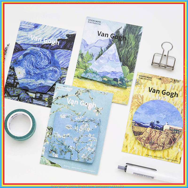 4pcs/lot Van Gogh memo pads Geometry Sticky Note Post It Starry night guestbook stickers Stationery Office School supplies 01927