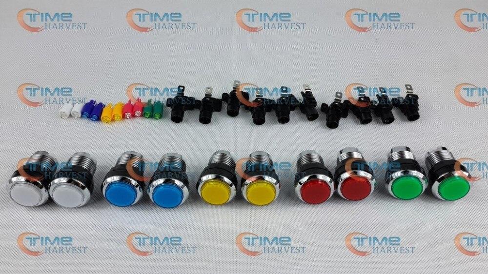 20 шт. Посеребренная световая Кнопка Светодиодный кнопки без микропереключателей для аркадных комплектующие для игровых автоматов аркадных деталей