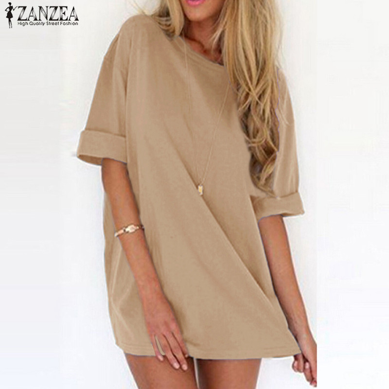 S-5XL ZANZEA Women Summer Short Sleeve O Neck Vestido Casual Loose Shirt Dress Sexy Ladies Solid Mini Dresses Plus Size 2018