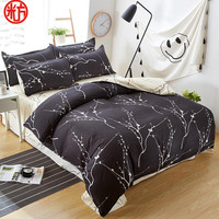 Bedding Set 5 Size Grey Blue Flower Bed Linens 4pcs Set Duvet Cover Set Pastoral Bed