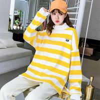 Sudadera con capucha Mujer rayas manga larga Sudadera deportiva Jumper Harajuku amarillo rayas letras bordado pulóver