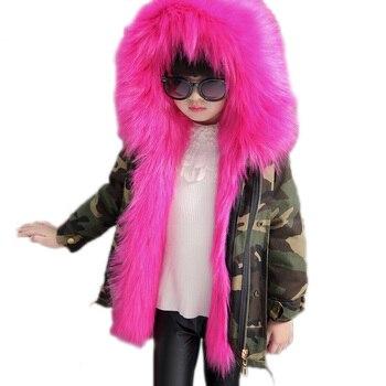 fashion girl coat 2018 new girl winter jackets fox fur coat for girls thicken warm children outwear girls winter clothing 2-13T