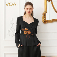 VOA Heavy Silk Plus Size Embroidery Beading Women Sexy V Neck Slim Short Jacket Office Lady Soft Black Party Coat Spring W309