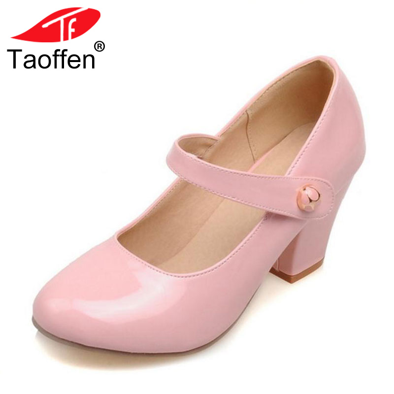 TAOFFEN Size 32-48 Lady High Heels Pumps Round Toe Patent Leather Thick High Heeled Shoes Women Candy Colors Party Footwears taoffen size 32 48 sexy women bowtie round toe high heel shoes women ankle strap thick heels pumps party dress women footwears