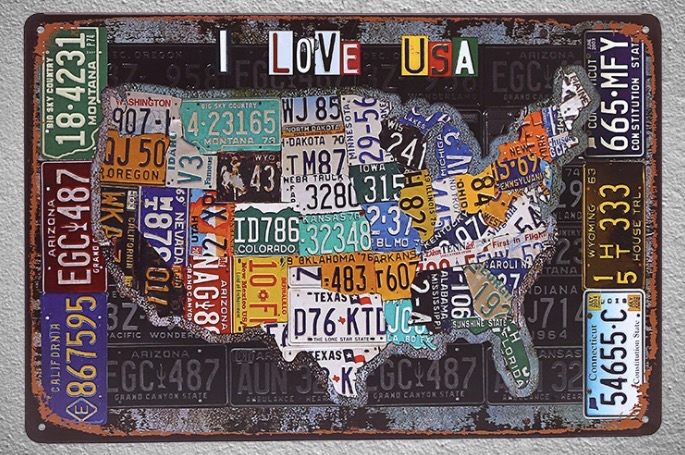 1 pc I love United states USA car license map Tin Plate Sign wall man cave Decoration Man cave Art Poster metal vintage home in Plaques Signs from Home Garden