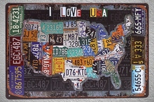 1 pc I love United states USA car license map Tin Plate Sign wall man cave Decoration Man Art Poster metal vintage home