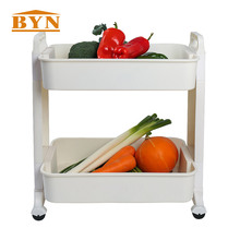 BYN KITCHEN ACCESSORIES Ivory Movable 2 Tier PP Sliding Food Vegetables Service Cart With 4 Wheels