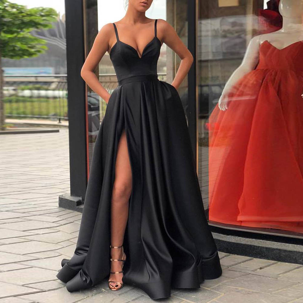 Verngo Black Sexy Evening Dress 2019 Cheao Formal Long Dress Evening gown Slit side Custom made Spaghetti strap in Evening Dresses from Weddings Events