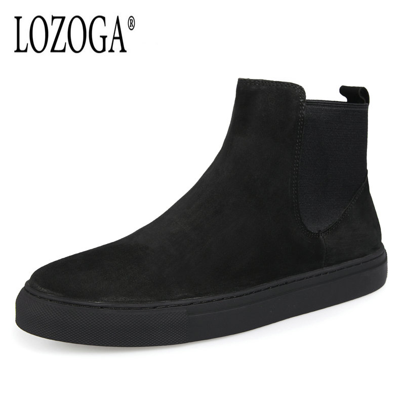 Lozoga 2018 Mens Chelsea Boots Autumn Winter Cow Suede Boots Black Slip On Retro Casual Shoes Flat Snow Boots Ankle New Zapatos martine women ankle boots flat with chelsea boots for ladies spring and autumn female suede leather slip on fashion boots