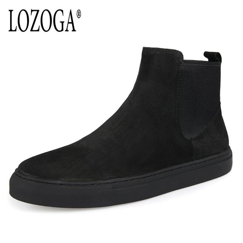 Lozoga 2018 hommes Chelsea bottes automne hiver vache daim bottes noir sans lacet rétro chaussures décontractées plat neige bottes cheville nouveau Zapatos