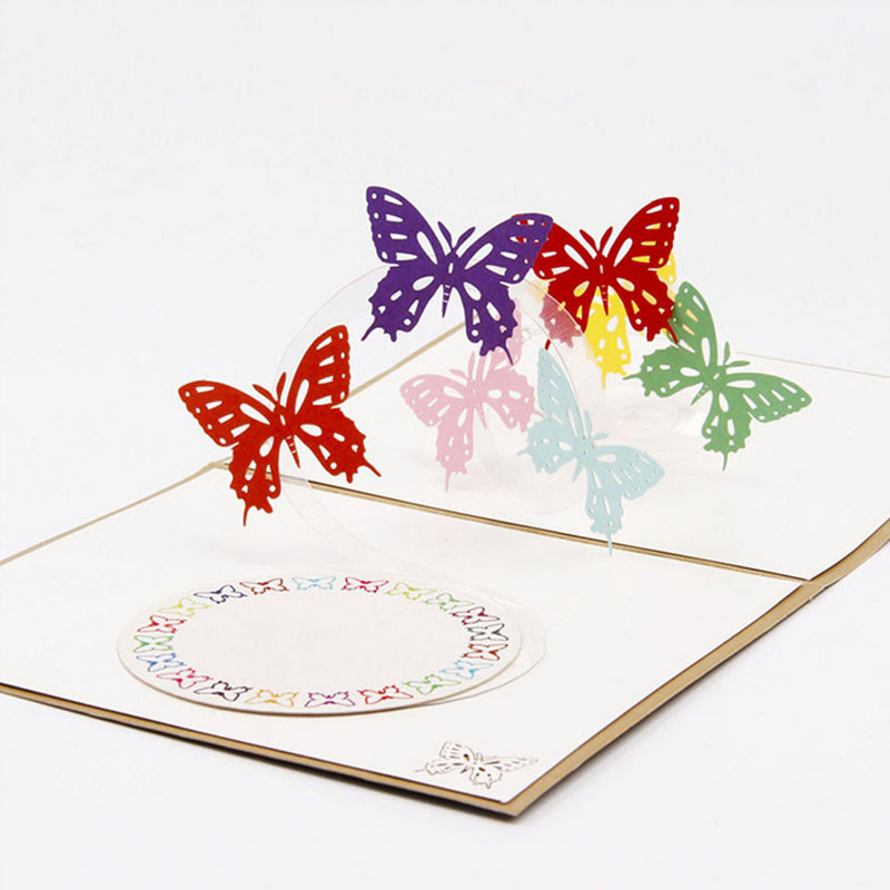3D Pop Up Origami Paper Laser Cut Greeting Cards Handmade Vintage Rainbow Bufferflies Birthday Postcards DIY Thank You Cards 3d pop up paper laser cut greeting cards creative handmade cake birthday postcards for lover thank you cards h06