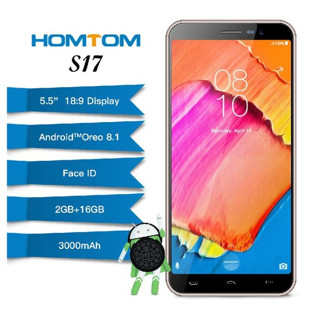 "Original HOMTOM S17 1280*640P Android 8.1 5.5"" 2GB RAM 16GB ROM MT6580 Quad Core 3000mAh 13.0MP Fingerprint Face ID Smartphone"