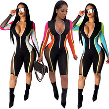 New S-3XL Color Patchwork Sheer Mesh Bandage Jumpsuit Women Sexy Zipper V Neck Long Sleeve Shorts Romper Night Club Playsuit недорого