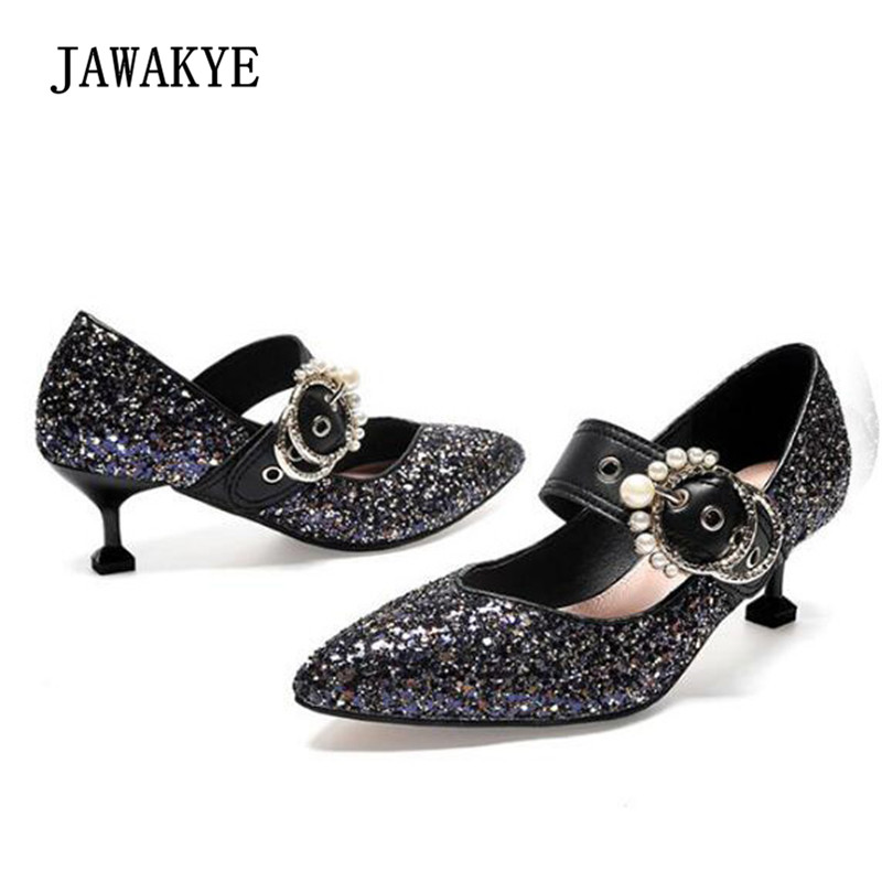 2018 Newest bling Sequins High Heels Shoes Woman Pointed Toe Pearl Buck  Little Heel Mary Janes 11906d82c661