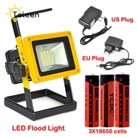 led outdoor 30W LED Floodlight Portable SpotLight 24LED Rechargeable Floodlight Outdoor Travel Work Lamp+Charger+3x18650 Battery