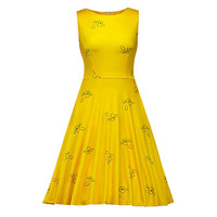 Sisjuly Women S Vintage Dresses A Line Yellow Floral Print Sleeveless O Neck Zippers Mid Calf