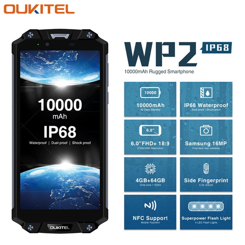 OUKITEL WP2 IP68 Waterproof Dust Shock Proof Mobile Phone 6.0inch 4GB+64GB MT6750T Octa Core Android 8.0 10000mAh NFC Smartphone-in Cellphones from Cellphones & Telecommunications    1
