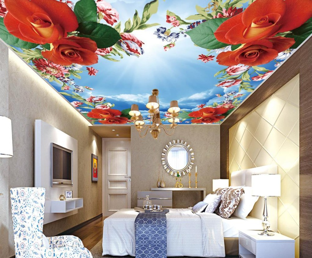 popular sky ceiling mural buy cheap sky ceiling mural lots from wedding decoration 3d ceiling wall murals for living room bedroom wedding room romantic rose sky ceiling