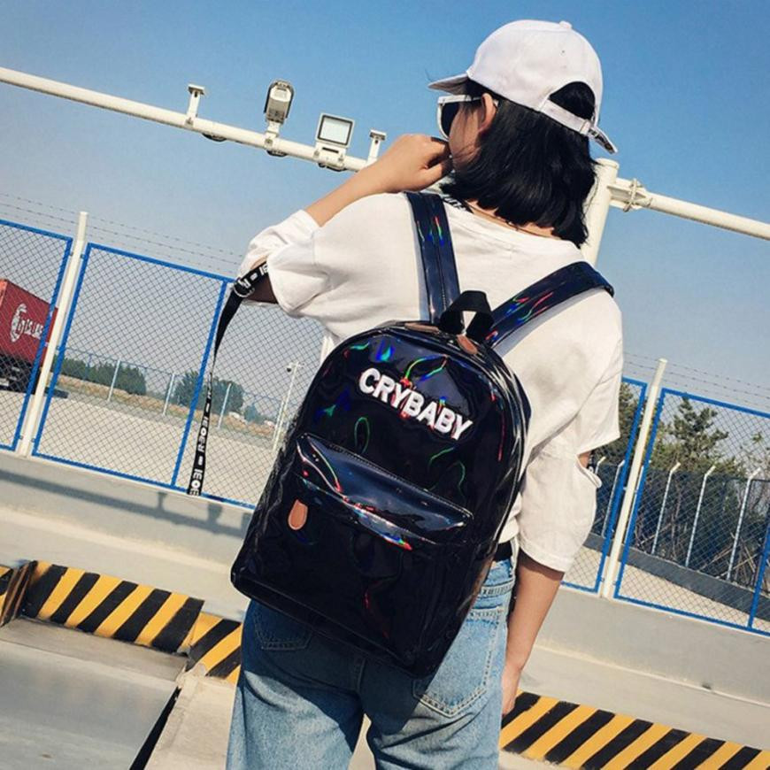 Fashion Women Men Rucksack Holographic Silver Color Shoulder Bookbags School Bags for Teenagers Satchel Travel Backpack Mochilas