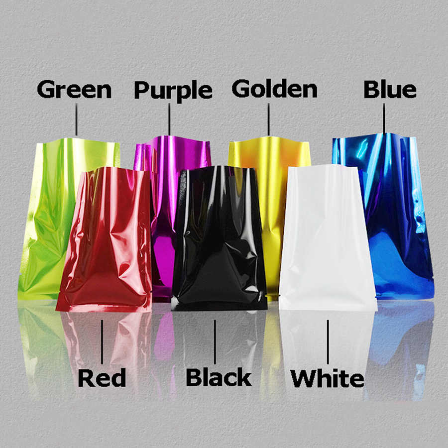 100 pcs Colorful Foil Heat Sealed Bag Pouch Smell Proof Foil Bags Foil Pouches Food Storage Free Shipping