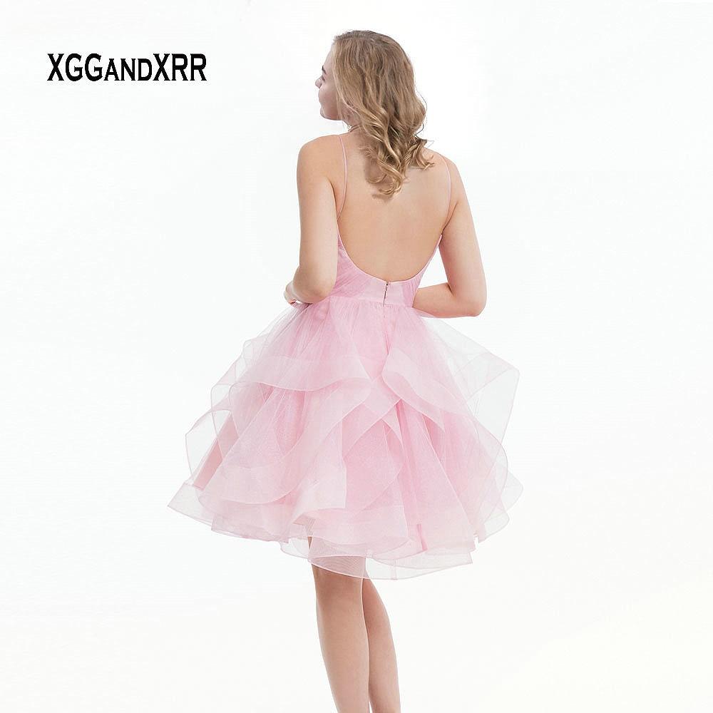 Sexy col en V rose retour robes 2019 dos nu Graduation Date robes volants courte robe de bal fille robe de soirée robe de Gala - 2