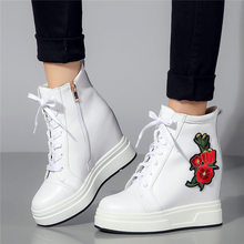 цена на Embroider Trainers Shoes Women Cow Leather High Heel Ankle Boots Wedges Platform Pumps Punk Sneakers Lace Up Hi-Top Tennis Shoes