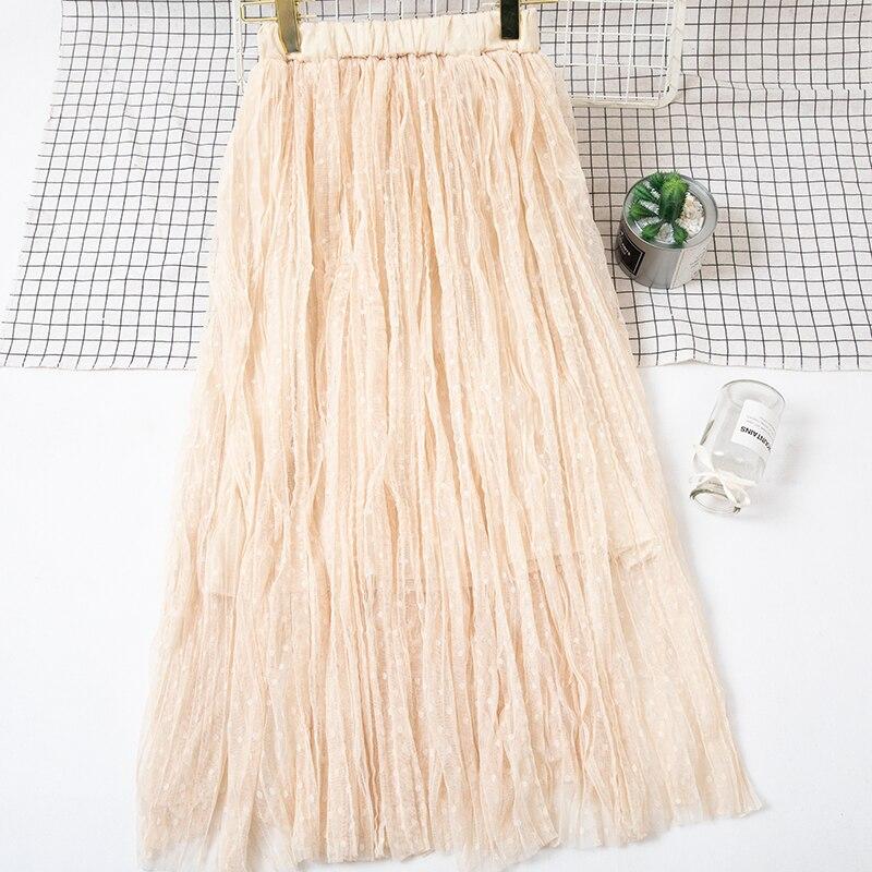 Autumn And Winter Women's Skirt New High Waist Skirt Solid Color Mesh Skirt Female Long Section Loose Thin Folds Skirt Women 3