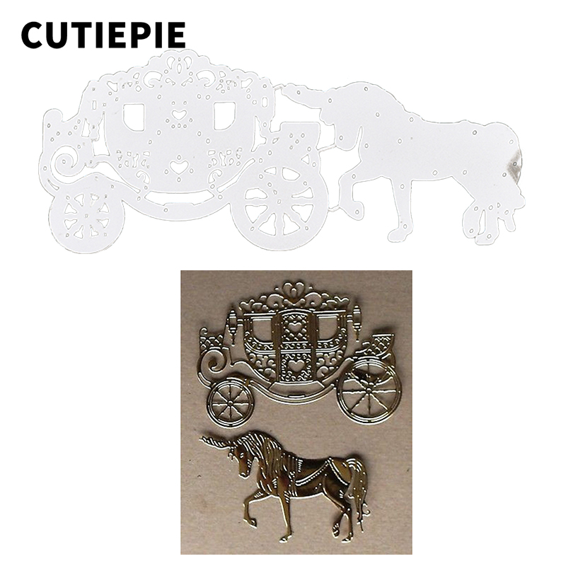 Horse Carriage Metal Cutting Dies for Scrapbooking Die Cut DIY Crafts Photo Album Paper Card Decor Embossing Folder Cutting Tool