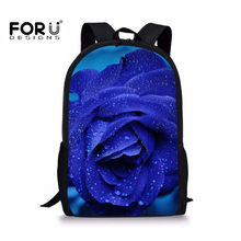 7fdae5a9b Forudesigns 3d الطباعة الأزرق روز بالأزهار للبنين خفيفة الوزن حقيبة مدرسية  العظام الكتب sac دوس الشقي
