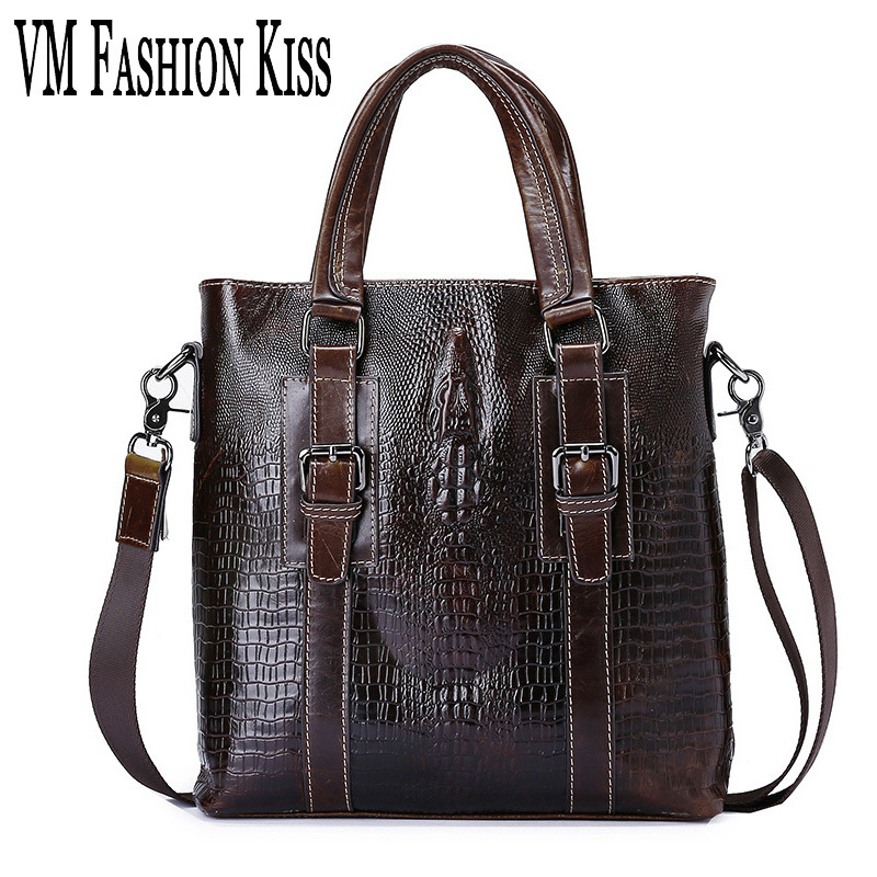 VM FASHION KISS Oil Wax Real Cowhide Crocodile Pattern Male Shoulder Briefcase Messenger Bag Top Handbag Brown Bag Famous Brand