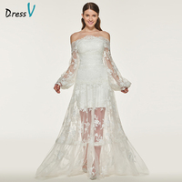 Dressv Ivory Long Wedding Dress Off The Shoulder Lace A Line Zipper Up Long Sleeves Simple