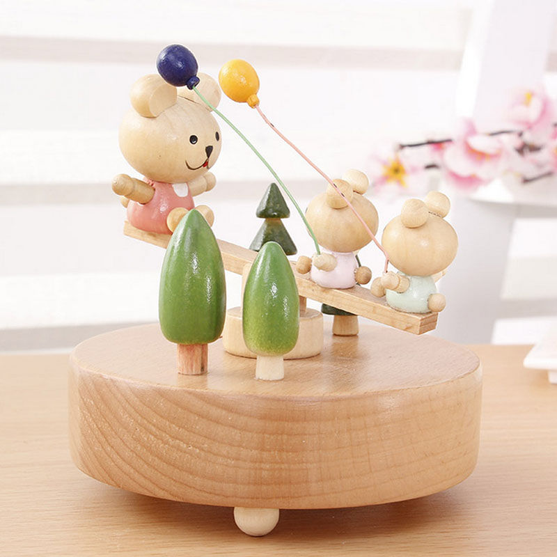 1 Piece Wind Up Toy Cute Bear On The Seesaw Music Ofbox Classic Wood Toy For Children Clockwork Handmade Creative Birthday Gifts