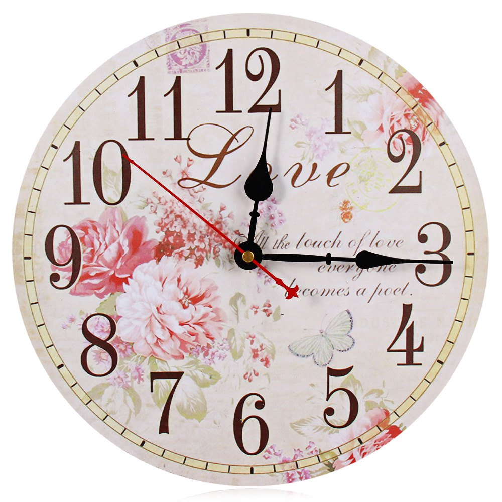 Large Wall Clocks With FLOWER Pattern Retro Wooden Silent Vintage Home Decor Big Wall Watches